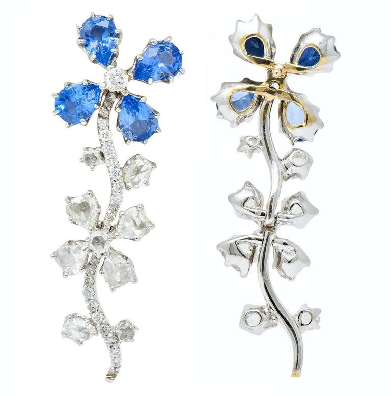 Retro 11.52 Carat Diamond Sapphire Platinum Articulated Flower Earrings For Sale 3