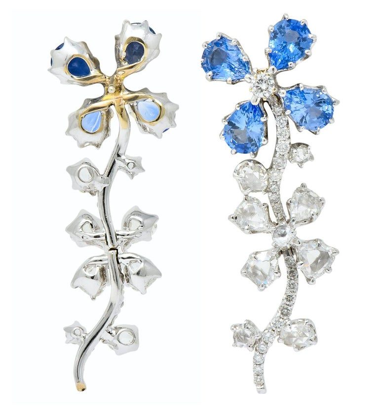Retro 11.52 Carat Diamond Sapphire Platinum Articulated Flower Earrings For Sale 4