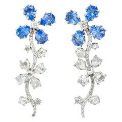 Retro 11.52 Carat Diamond Sapphire Platinum Articulated Flower Earrings