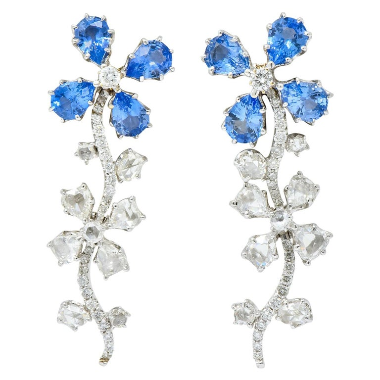Retro 11.52 Carat Diamond Sapphire Platinum Articulated Flower Earrings For Sale