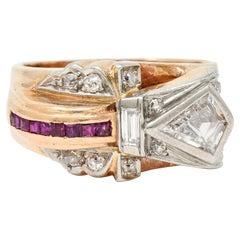 Retro 1.17 Carats Diamond Ruby 14 Karat Two-Tone Bow Ring