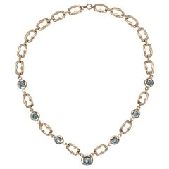 Retro 12 Carat Blue Zircon Gemstone Gold Necklace Fine Estate Jewelry