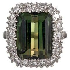 Retro 12 Carat Green Tourmaline and Diamond Cluster Ring