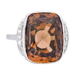Retro 12.08 Carat Zircon Diamond Platinum-Topped 14 Karat White Gold Ring, 1940s