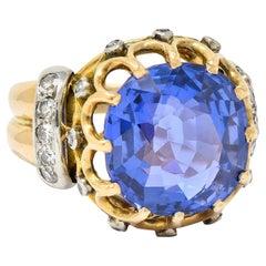 Retro 12.26 Carats No Heat Color Change Sapphire Diamond 18 Karat Gold Ring AGL