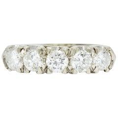 Retro 1.25 Carat Diamond 14 Karat White Gold Fishtail Band Ring