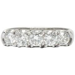 Retro 1.25 Carat Diamond Platinum 5-Stone Anniversary Band Stackable Ring