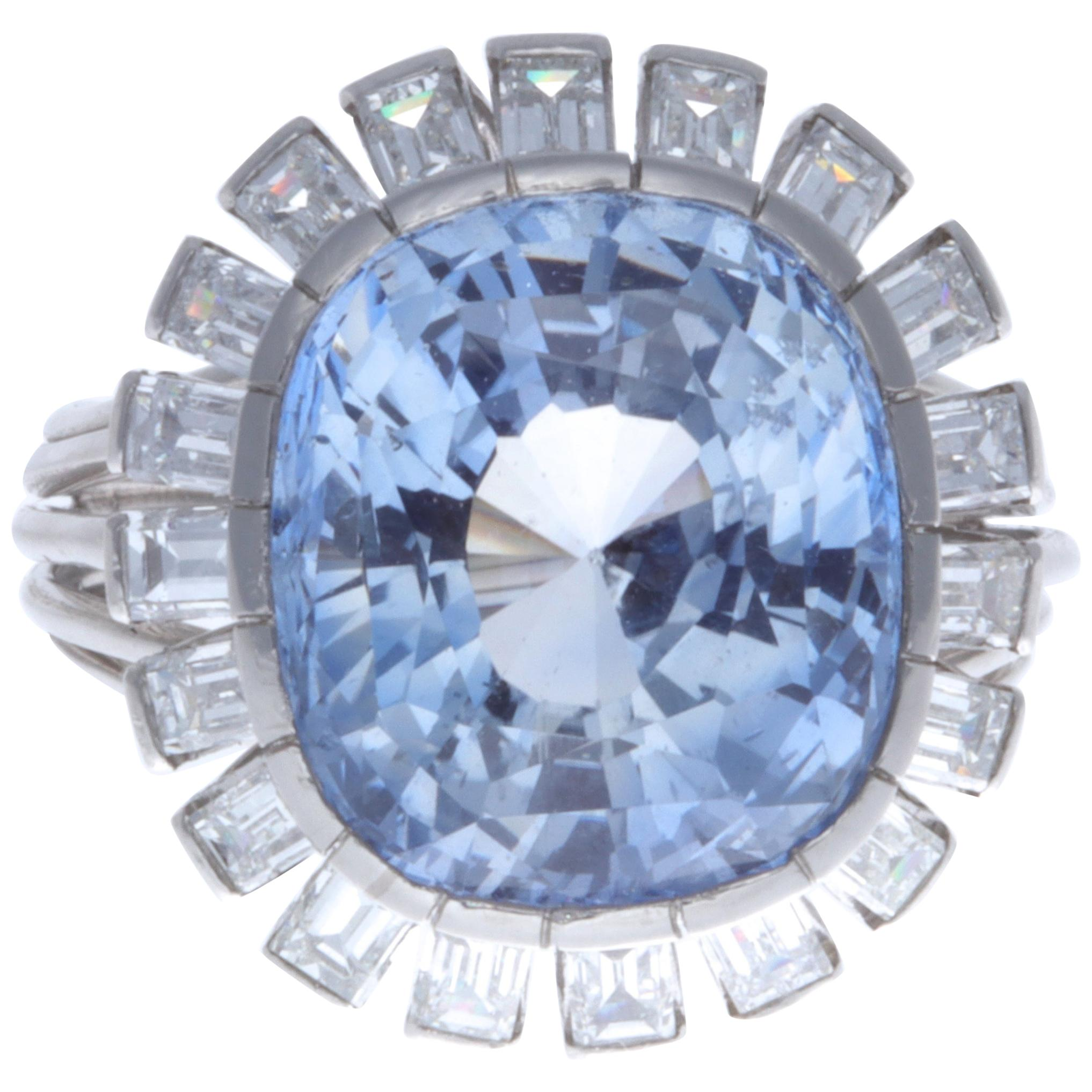 Retro 13.48 Carat Ceylon No Heat Sapphire Diamond Platinum Ring
