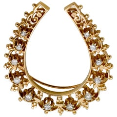 Retro 14 Karat Gold 0.60 Carat Diamonds Horseshoe Brooch or Pendant