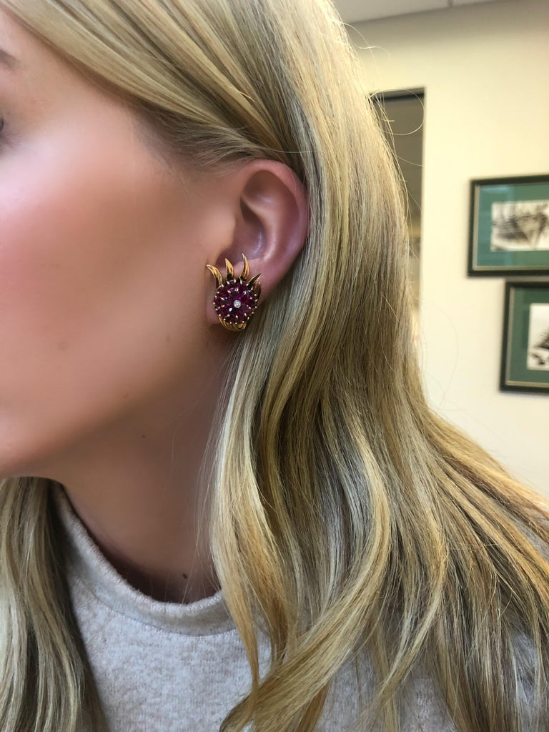 Retro 14 Karat Gold and Ruby and Diamond Clip-On Earrings For Sale 1