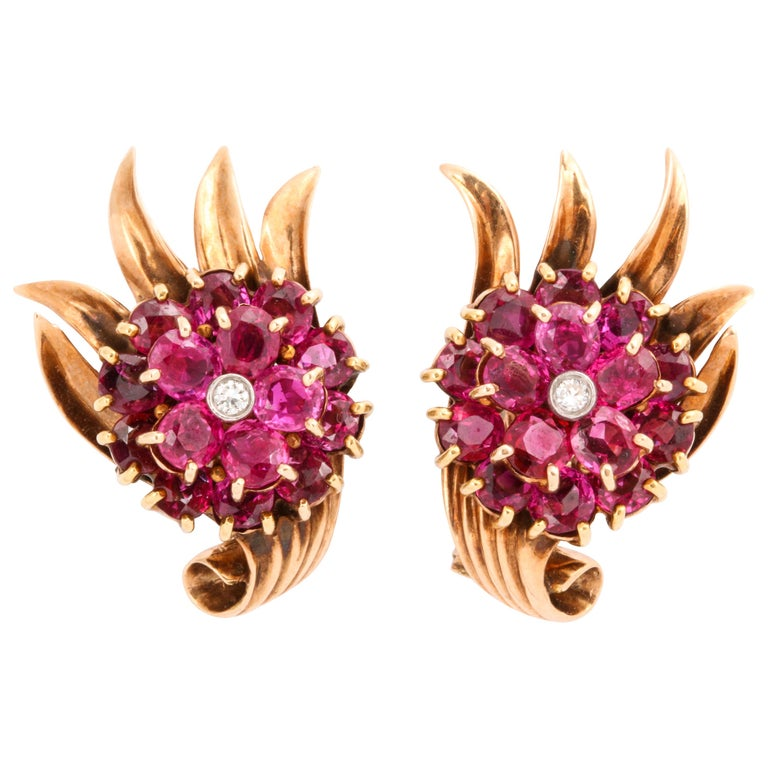 Retro 14 Karat Gold and Ruby and Diamond Clip-On Earrings For Sale