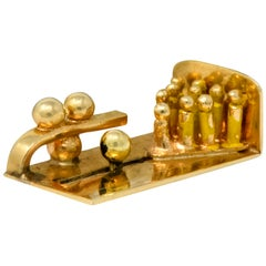 Retro 14 Karat Gold Articulated Bowling Lane Charm