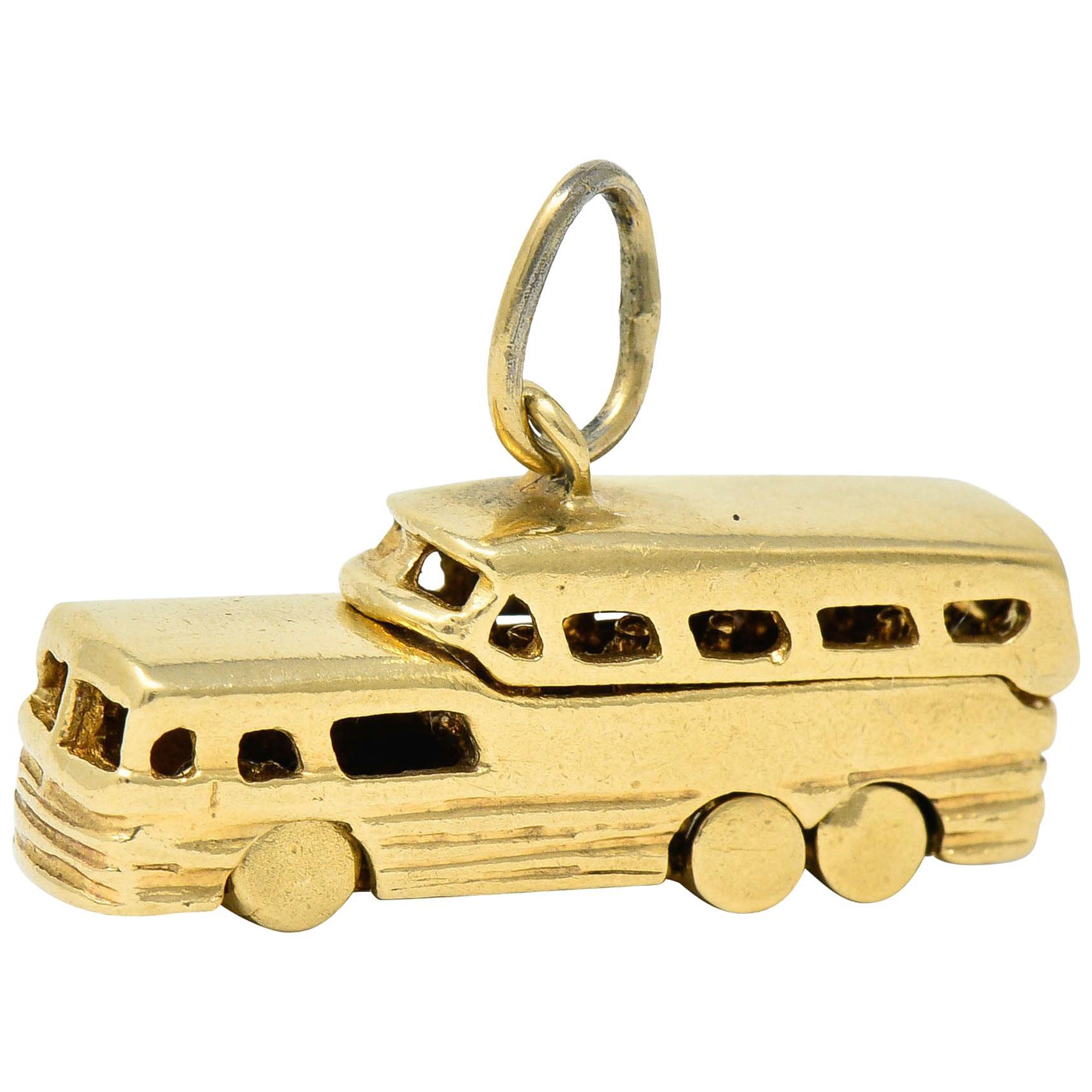 Retro 14 Karat Gold Articulated Scenicruiser Greyhound Bus Charm