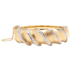 Retro 14 Karat Gold Diamond Bangle