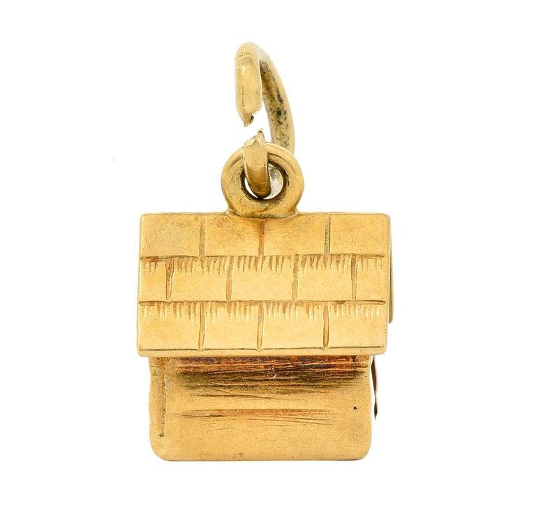 Retro 14 Karat Gold Doghouse Charm, circa 1950 For Sale 2