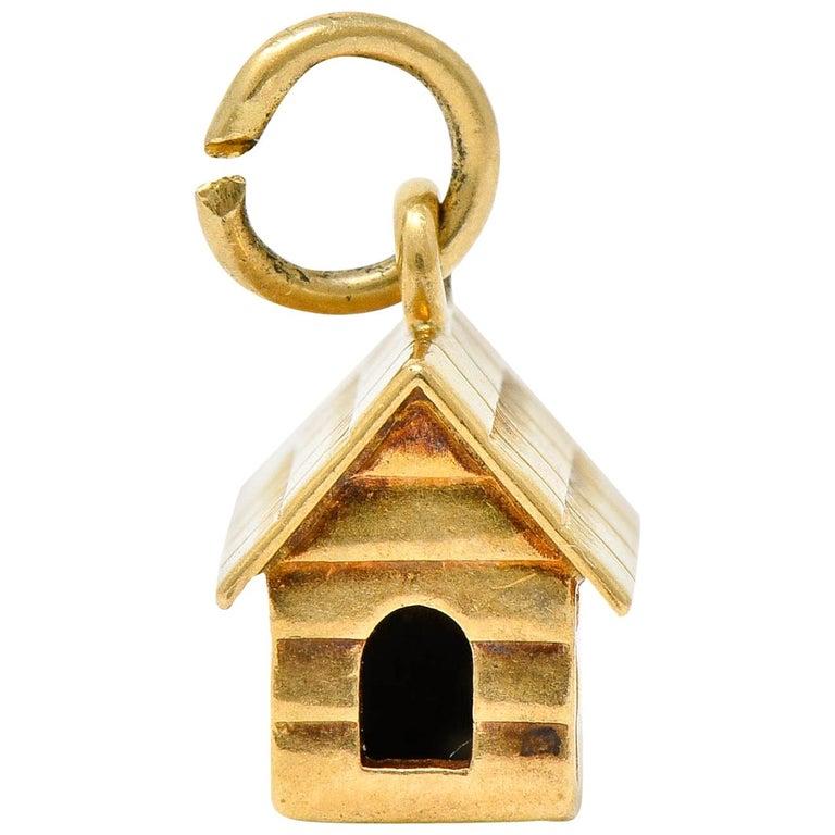 Retro 14 Karat Gold Doghouse Charm, circa 1950 For Sale