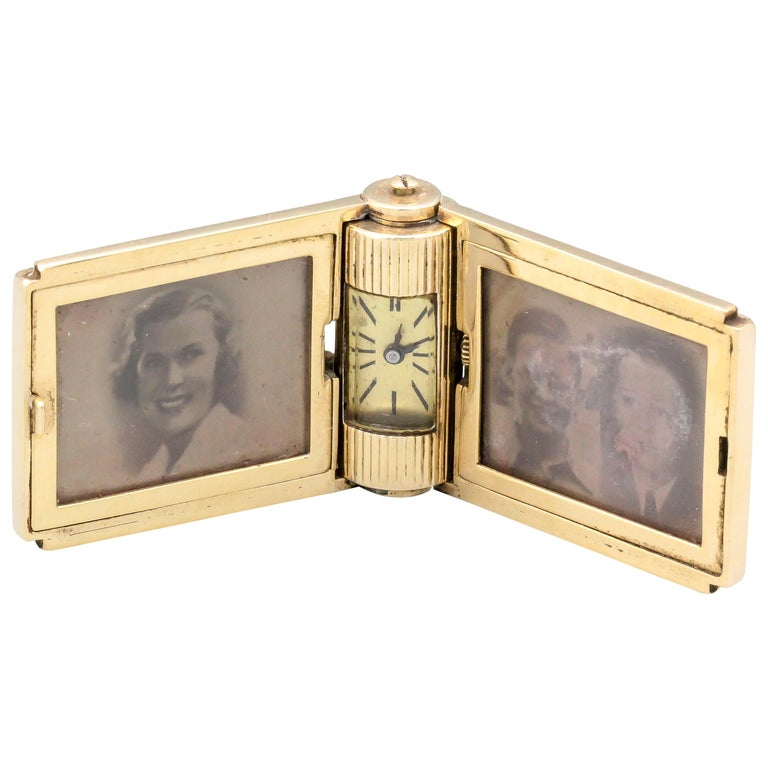 Retro 14 Karat Gold Folding Travel Picture Frame with Hidden Clock For Sale