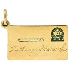Retro 14 Karat Gold Jefferson Postal Card Charm, circa 1940s