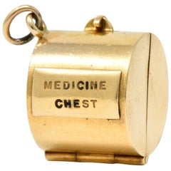 Retro 14 Karat Gold Medicine Chest Charm, circa 1940s
