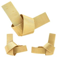 Retro 14 Karat Gold Ribbed Bow Brooch and Clip-On Earring Set