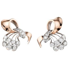 Retro 14 Karat Rose and White Gold and Diamond Earrings