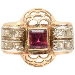 Retro 14 Karat Rose Gold, Diamond and Rubelite Ring
