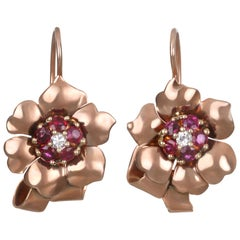 Retro 14 Karat Rose Gold Diamond Ruby Flower Earrings