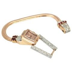 Retro 14 Karat Ruby Diamond Watch Ciny Watch Co. Le Noirmont, circa 1940s