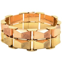 Retro 14 Karat Two-Tone Gold Bracelet, Germany, circa 1950