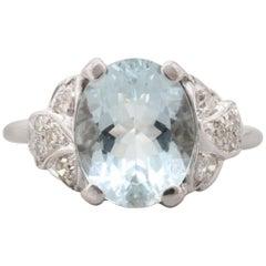 Retro 14 Karat White Gold Aquamarine Ring with Diamond Accents, circa 1970s