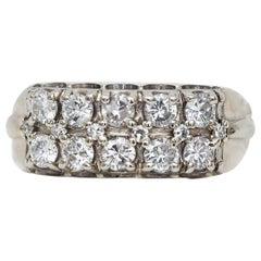 Retro 14 Karat White Gold Double Row Band with Diamonds