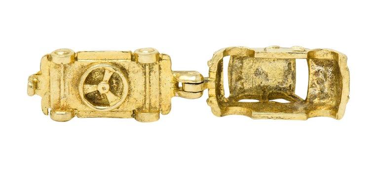 Retro 14 Karat Yellow Gold Articulated Car Charm, circa 1940 For Sale 4