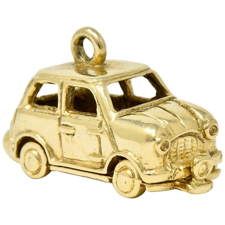 Retro 14 Karat Yellow Gold Articulated Car Charm, circa 1940 For Sale
