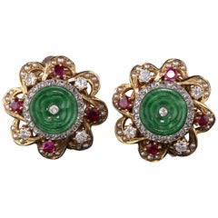 Retro 14 Karat Yellow Gold Diamonds, Jade, Rubies and Seed Pearls Earrings