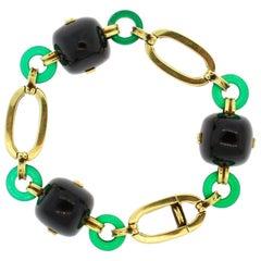 Retro 14 Karat Yellow Gold Onyx Chrysoprase Link Bracelet