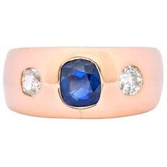 Retro 1.40 Carat Sapphire Diamond 18 Karat Rose Gold Unisex Gypsy Band Ring