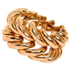 Retro 14K Gold Bracelet with Interlocking Wide Double Row Chevron Design