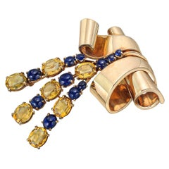 Retro 14k Gold, Citrine & Sapphire Brooch