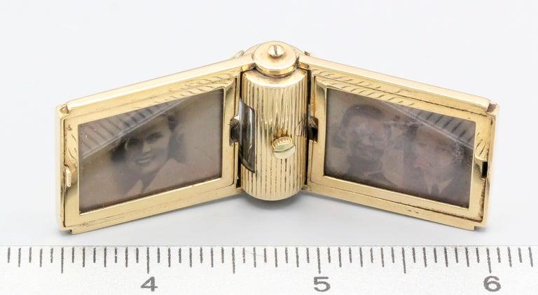 Women's or Men's Retro 14 Karat Gold Folding Travel Picture Frame with Hidden Clock For Sale