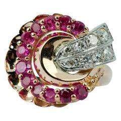 Retro 14 Karat Rose Gold and Palladium Red Rubies with Round Diamond Ring