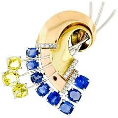 Retro 14k Rose & Green Gold GIA 15.7ct Yellow Blue Sapphire & Diamond Brooch Pin