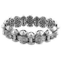 Retro 14K White Gold Diamonds Tank Bracelet