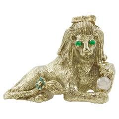 Retro 14k White Gold Figural Lion Brooch Pin Pendant, circa 1940s