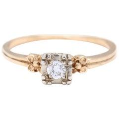 Retro 14 Karat White and Yellow Gold Diamond Engagement Ring