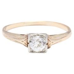 Retro 14KT Bi-Color Gold & Diamond Engagement Ring