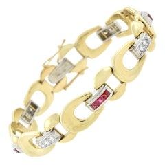 Retro 14kt Platinum Ruby and Diamond Buckle Link Bracelet