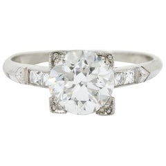 Retro 1.54 Carat Diamond Platinum Engagement Ring GIA, circa 1940