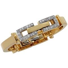 Retro 1.60 Carat Old European Cut Diamond Bangle Bracelet