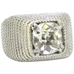 Retro 1.60 Carat Square Cushion Cut Diamond Signet Ring Platinum circa 1930
