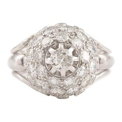 Retro 1.60 Carat Diamonds 18 Carat White Gold Dome Ring